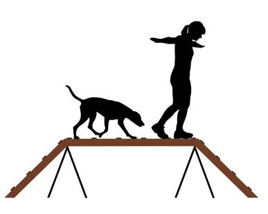 Frau und Hund auf Laufsteg
